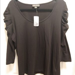 Forever21+ Ruched Shoulder 3/4 Sleeve Top